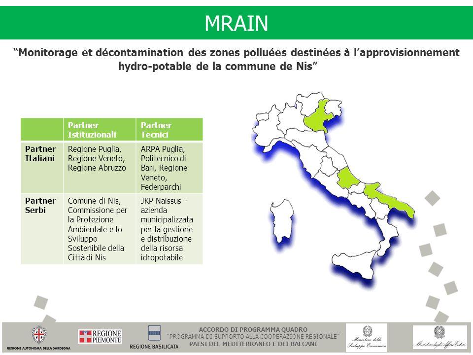 MRAIN Partner Istituzionali Partner Tecnici Partner Italiani Regione Puglia, Regione Veneto, Regione Abruzzo ARPA Puglia, Politecnico di Bari, Regione