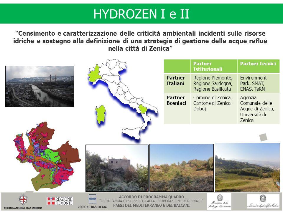 HYDROZEN I e II Censimento e caratterizzazione delle criticità ambientali incidenti sulle risorse idriche e sostegno alla definizione di una strategia