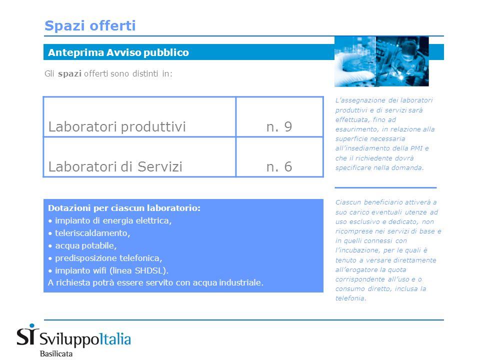 Gli spazi offerti sono distinti in: Spazi offerti Anteprima Avviso pubblico Laboratori produttivin.