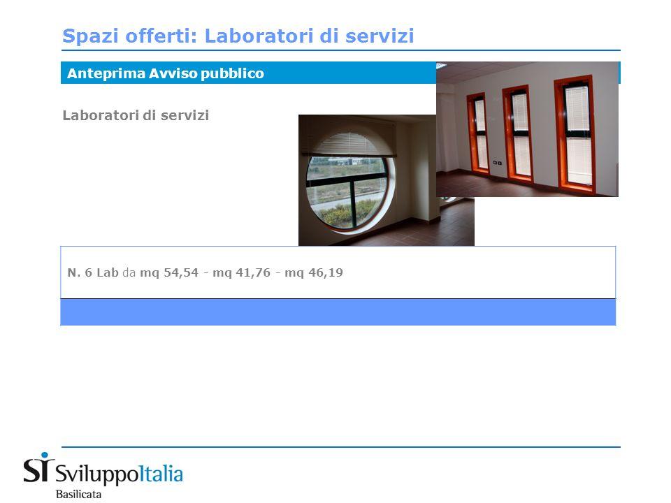 Spazi offerti: Laboratori di servizi Anteprima Avviso pubblico Laboratori di servizi N.
