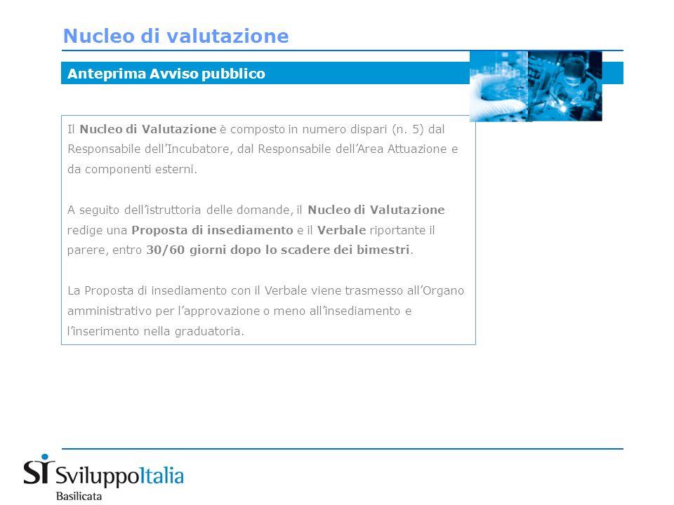 Nucleo di valutazione Anteprima Avviso pubblico Il Nucleo di Valutazione è composto in numero dispari (n.