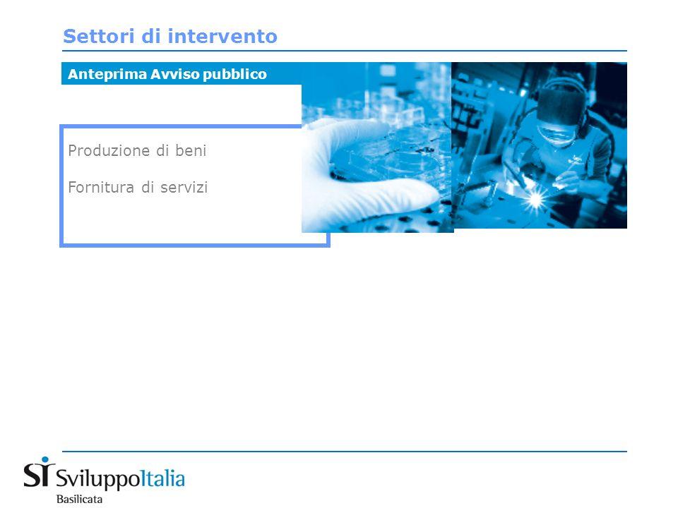 Settori di intervento Produzione di beni Fornitura di servizi Anteprima Avviso pubblico