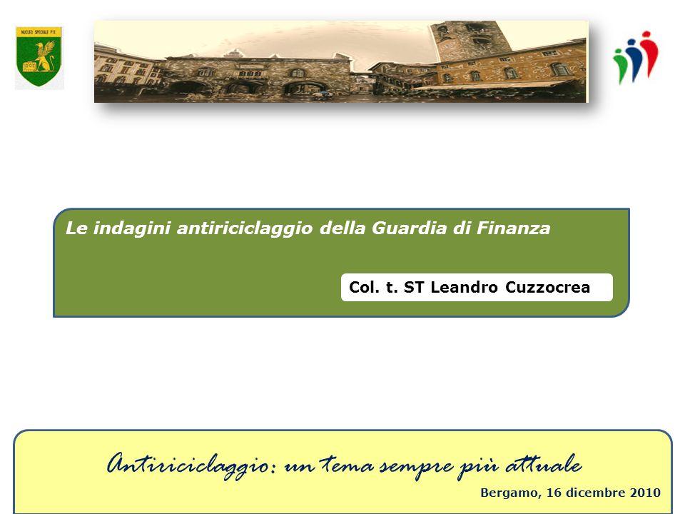 Antiriciclaggio: un tema sempre più attuale Bergamo, 16 dicembre 2010 Le indagini antiriciclaggio della Guardia di Finanza Col. t. ST Leandro Cuzzocre