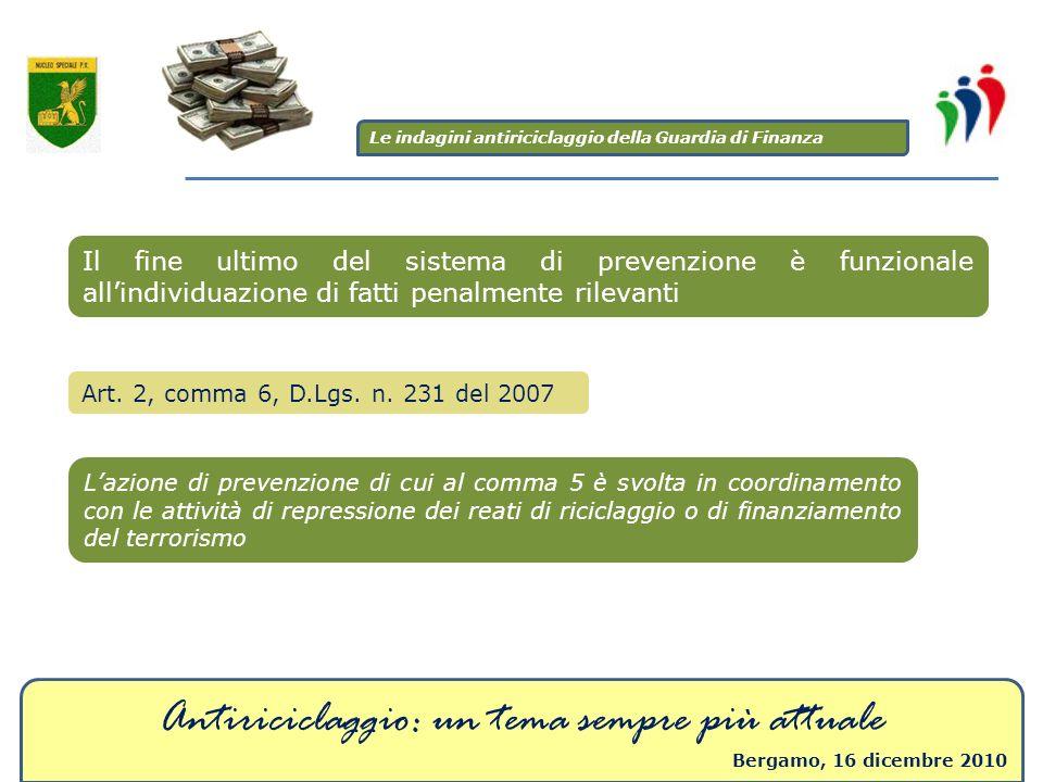 Antiriciclaggio: un tema sempre più attuale Bergamo, 16 dicembre 2010 Il fine ultimo del sistema di prevenzione è funzionale allindividuazione di fatt