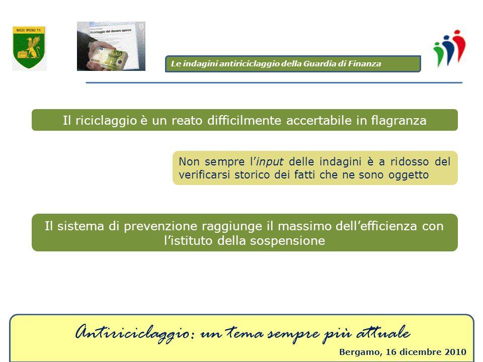 Antiriciclaggio: un tema sempre più attuale Bergamo, 16 dicembre 2010 Il riciclaggio è un reato difficilmente accertabile in flagranza Non sempre linp