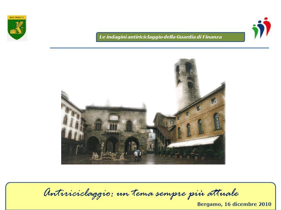 Antiriciclaggio: un tema sempre più attuale Bergamo, 16 dicembre 2010 Le indagini antiriciclaggio della Guardia di Finanza