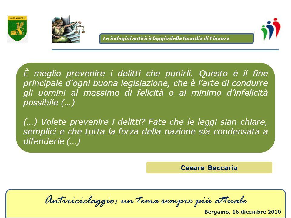 Antiriciclaggio: un tema sempre più attuale Bergamo, 16 dicembre 2010 È meglio prevenire i delitti che punirli. Questo è il fine principale dogni buon