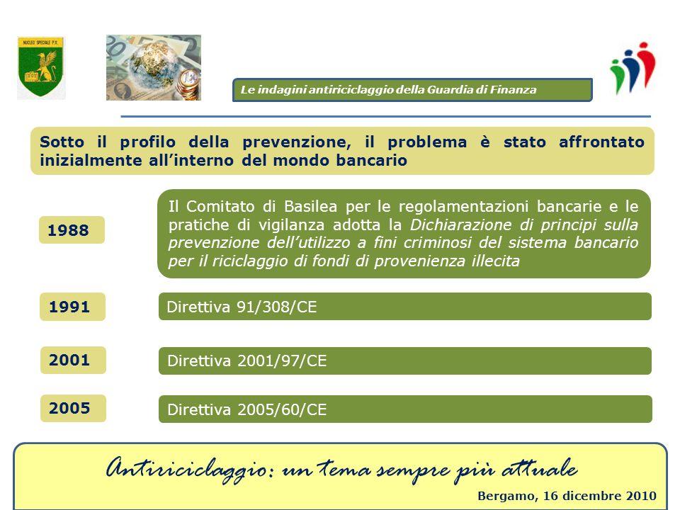 Antiriciclaggio: un tema sempre più attuale Bergamo, 16 dicembre 2010 Sotto il profilo della prevenzione, il problema è stato affrontato inizialmente