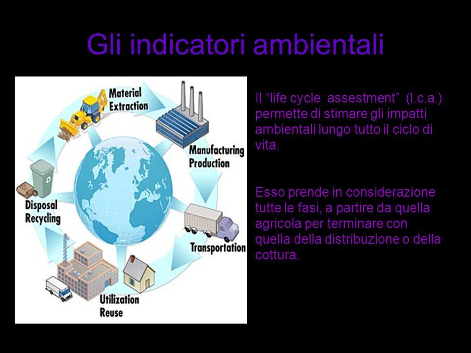 Gli indicatori ambientali Il life cycle assestment (l.c.a.) permette di stimare gli impatti ambientali lungo tutto il ciclo di vita. Esso prende in co