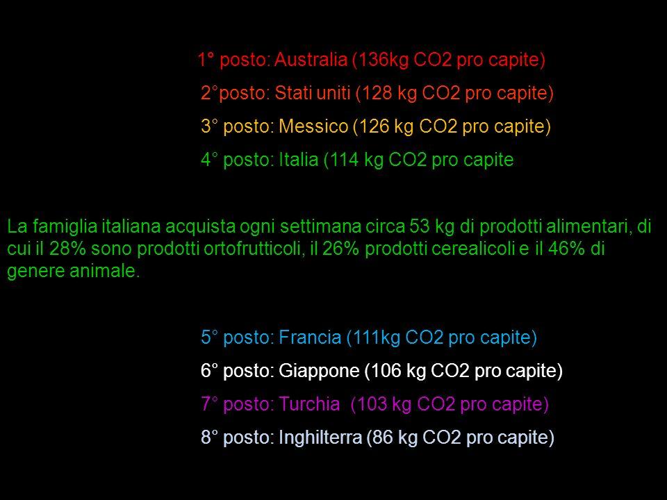 1° posto: Australia (136kg CO2 pro capite) 2°posto: Stati uniti (128 kg CO2 pro capite) 3° posto: Messico (126 kg CO2 pro capite) 4° posto: Italia (11