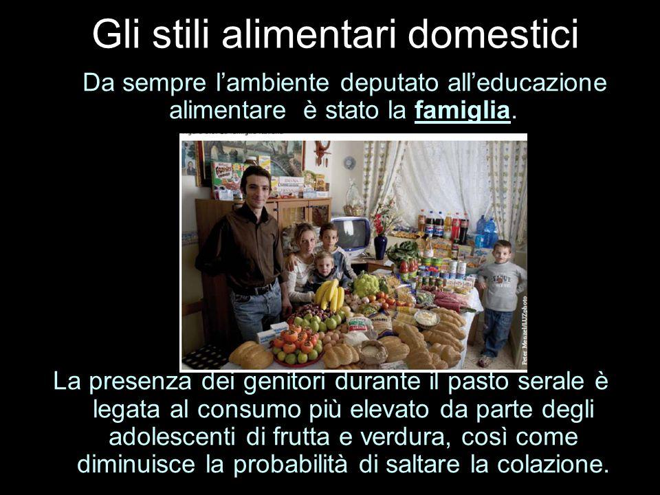 Gli stili alimentari domestici Da sempre lambiente deputato alleducazione alimentare è stato la famiglia. La presenza dei genitori durante il pasto se