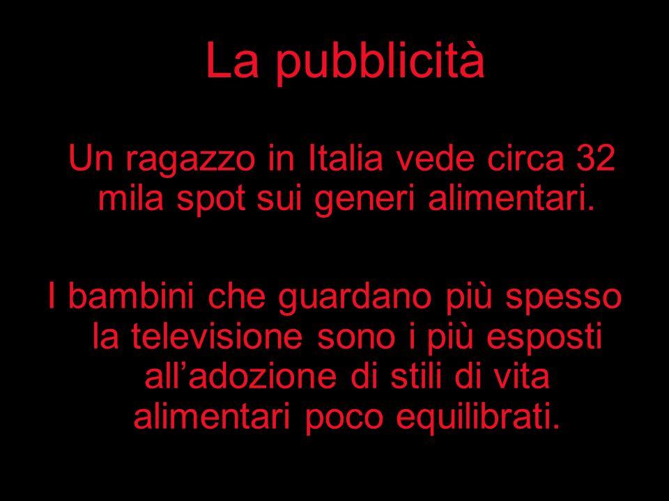 La pubblicità Un ragazzo in Italia vede circa 32 mila spot sui generi alimentari. I bambini che guardano più spesso la televisione sono i più esposti