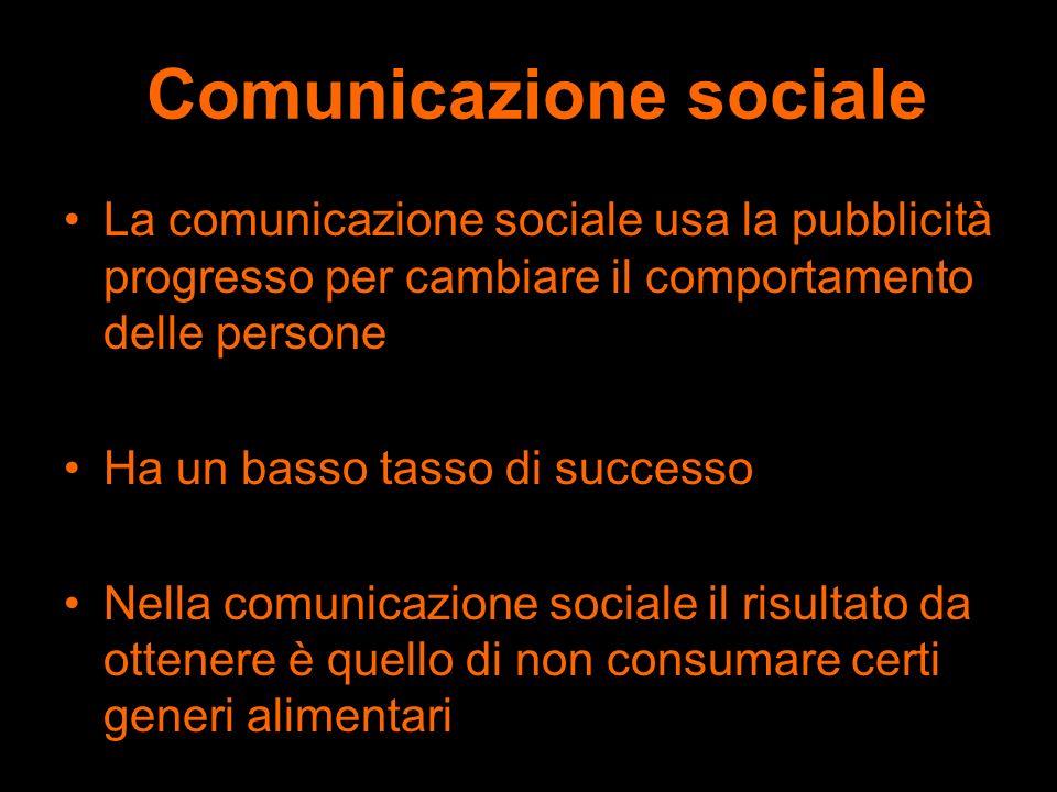 Comunicazione sociale La comunicazione sociale usa la pubblicità progresso per cambiare il comportamento delle persone Ha un basso tasso di successo N