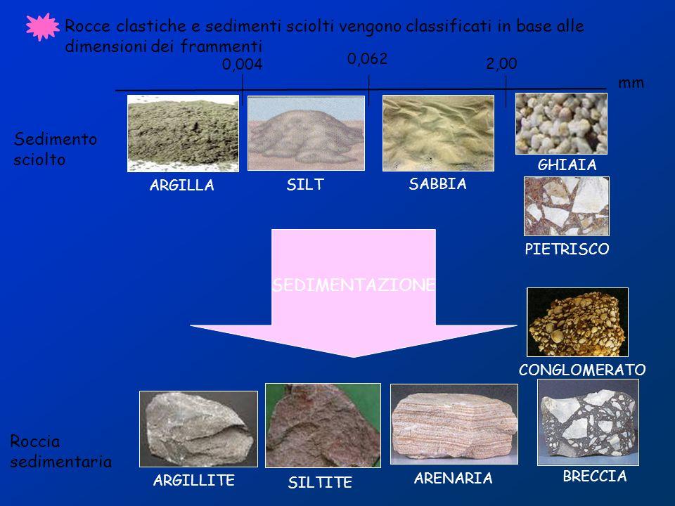 DAL SEDIMENTO ALLA ROCCIA Le arenarie derivano dalla cementazione tramite argilla, calcare o silice di granelli di sabbia depositati sottacqua.