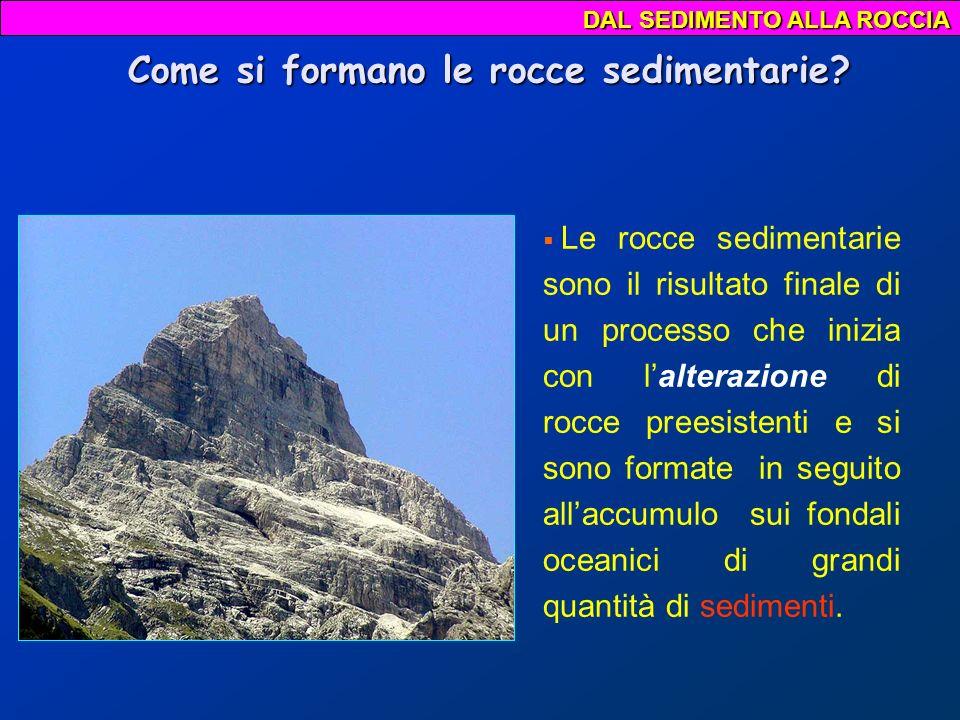 DAL SEDIMENTO ALLA ROCCIA fenomeno della erosione La maggior parte dei sedimenti proviene dalla disgregazione di rocce preesistenti: il vento, la pioggia, il ghiaccio, le escursioni termiche (caldo/freddo), sgretolano e frammentano le rocce (fenomeno della erosione).