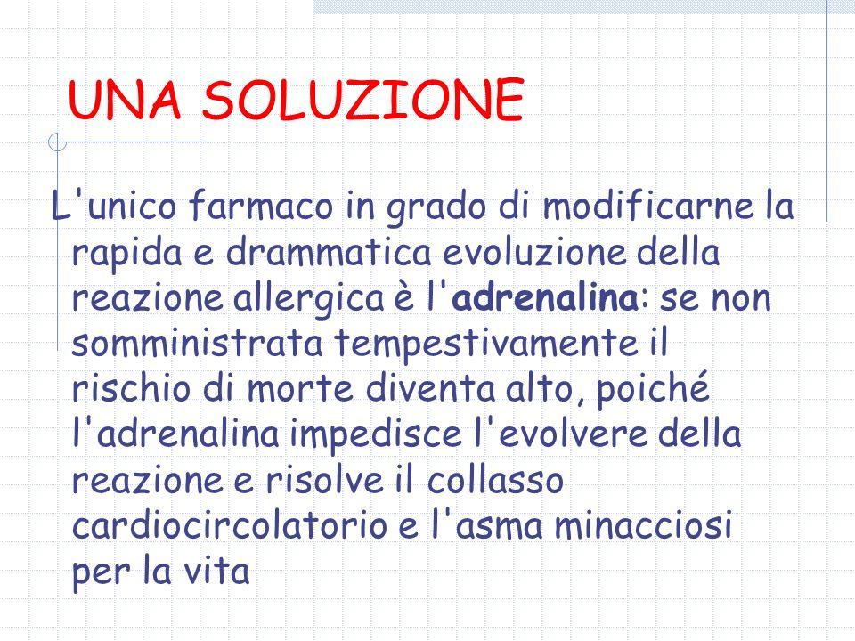 UNA SOLUZIONE L'unico farmaco in grado di modificarne la rapida e drammatica evoluzione della reazione allergica è l'adrenalina: se non somministrata