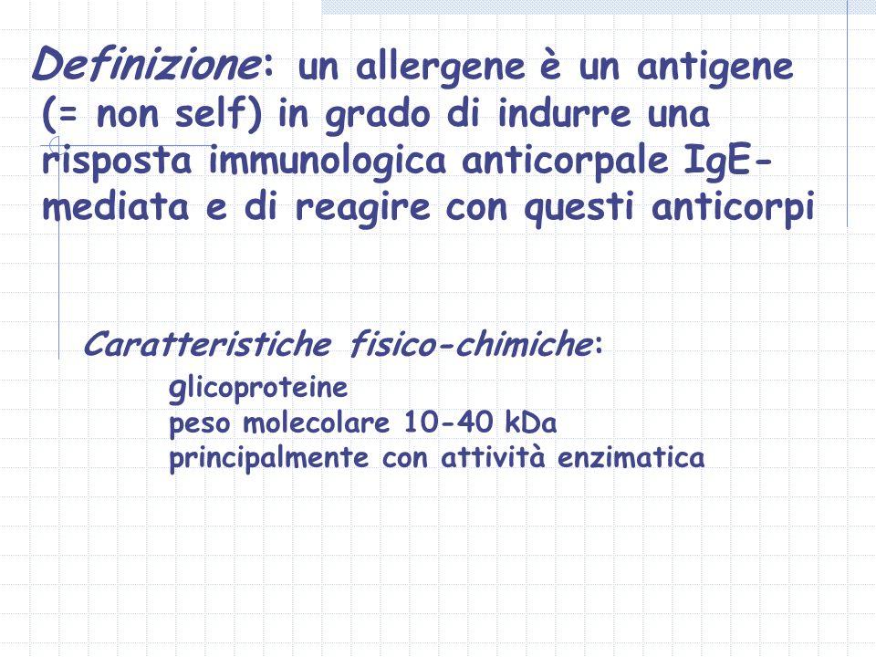 Definizione: un allergene è un antigene (= non self) in grado di indurre una risposta immunologica anticorpale IgE- mediata e di reagire con questi an