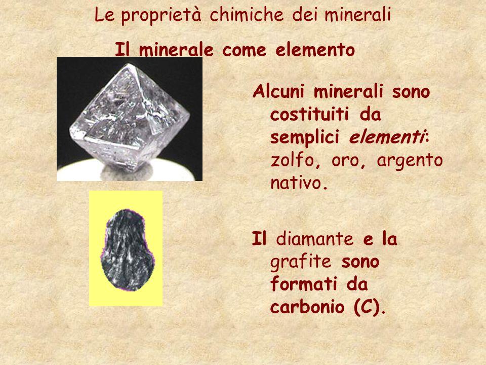 Il minerale come elemento Le proprietà chimiche dei minerali Alcuni minerali sono costituiti da semplici elementi: zolfo, oro, argento nativo. Il diam