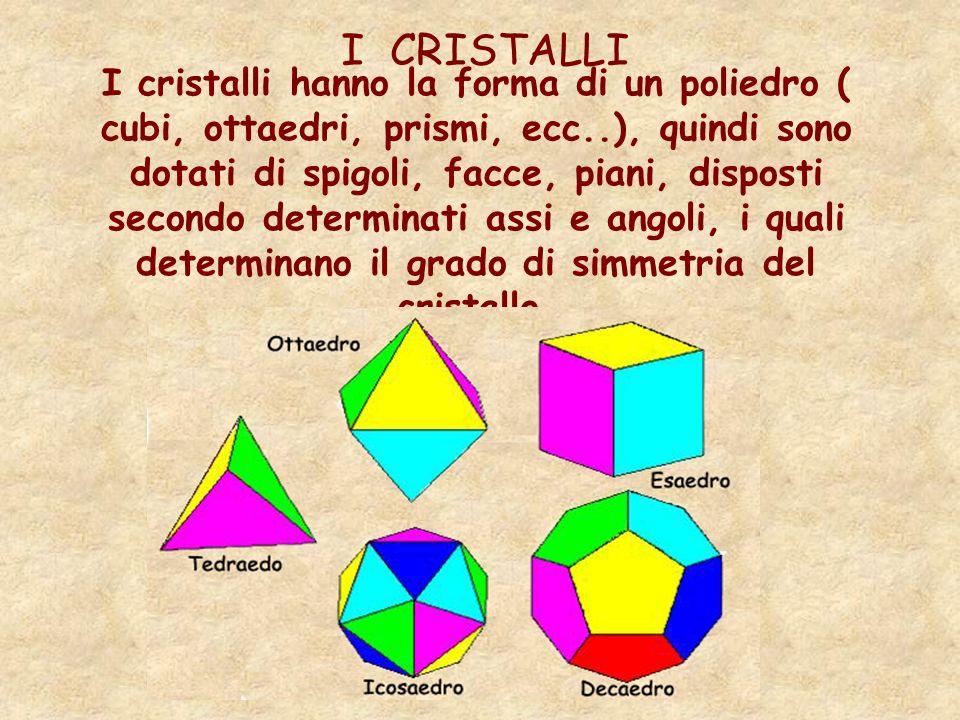 I CRISTALLI I cristalli hanno la forma di un poliedro ( cubi, ottaedri, prismi, ecc..), quindi sono dotati di spigoli, facce, piani, disposti secondo