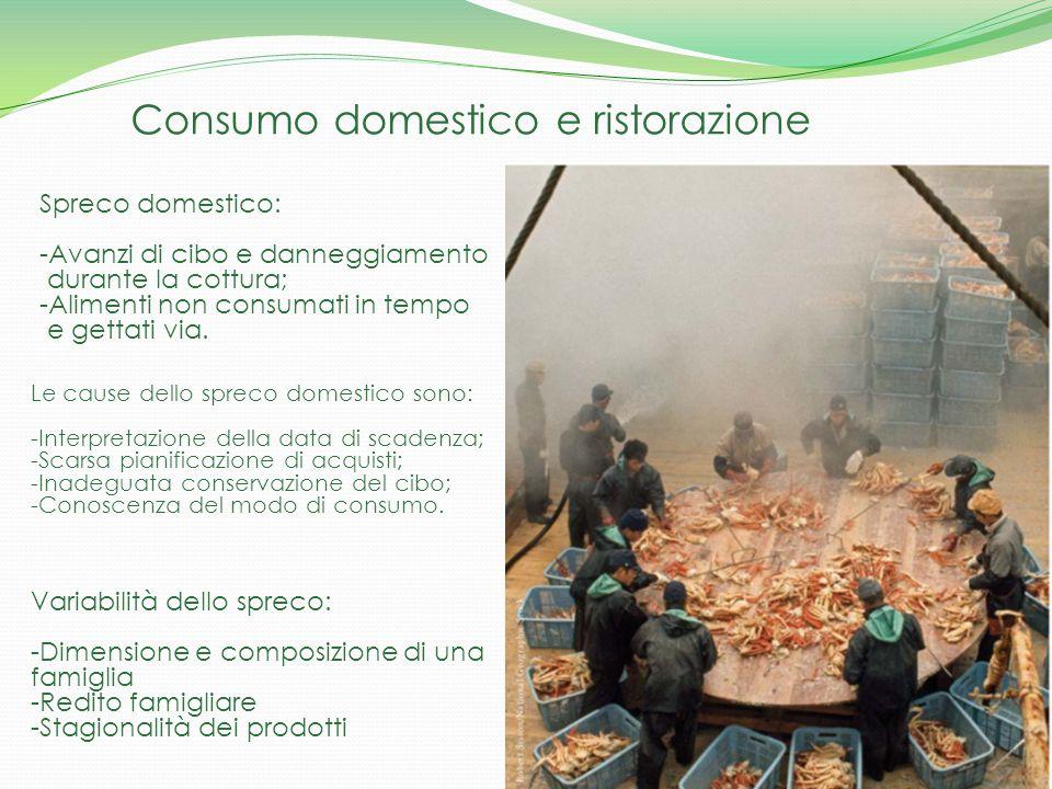 Consumo domestico e ristorazione Spreco domestico: -Avanzi di cibo e danneggiamento durante la cottura; -Alimenti non consumati in tempo e gettati via