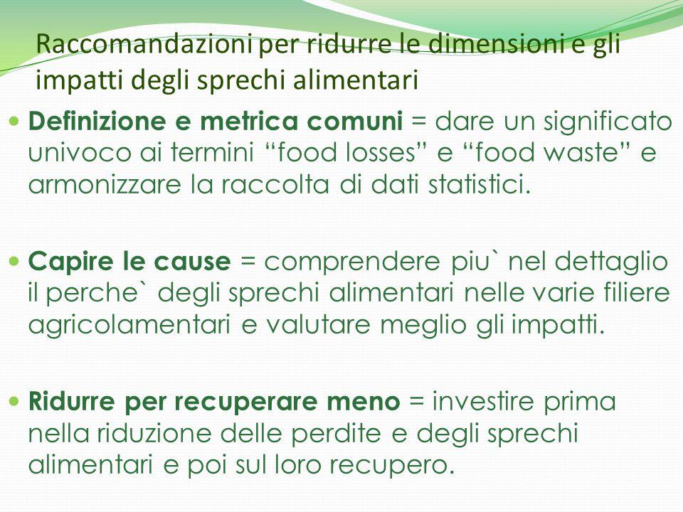 Raccomandazioni per ridurre le dimensioni e gli impatti degli sprechi alimentari Definizione e metrica comuni = dare un significato univoco ai termini