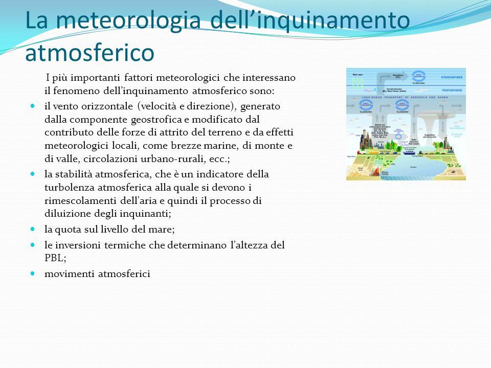 I più importanti fattori meteorologici che interessano il fenomeno dellinquinamento atmosferico sono: il vento orizzontale (velocità e direzione), gen