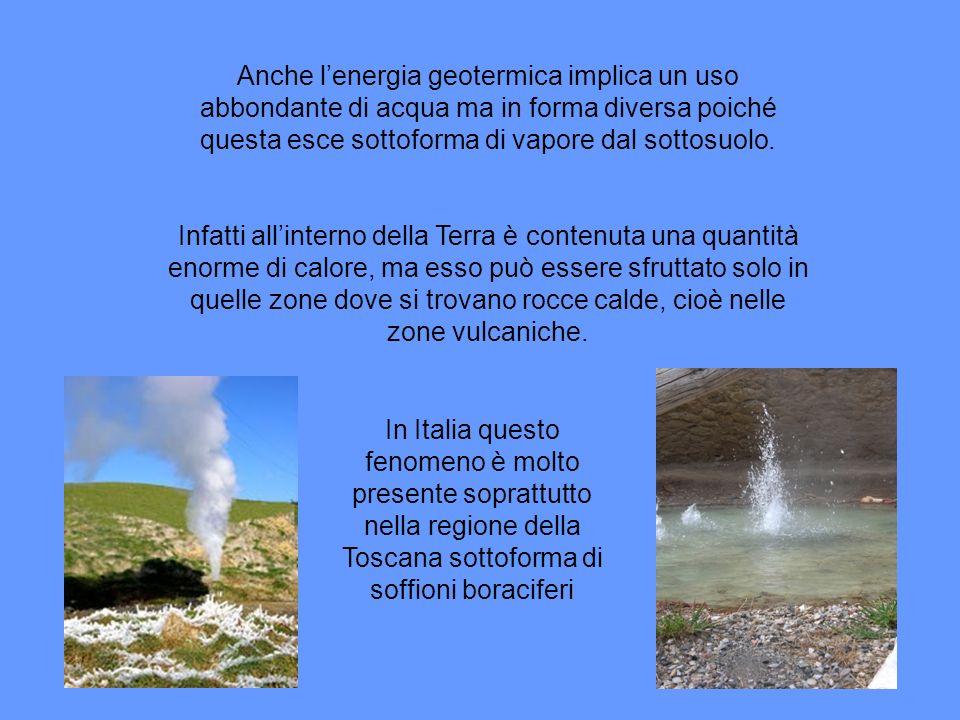 Anche lenergia geotermica implica un uso abbondante di acqua ma in forma diversa poiché questa esce sottoforma di vapore dal sottosuolo.
