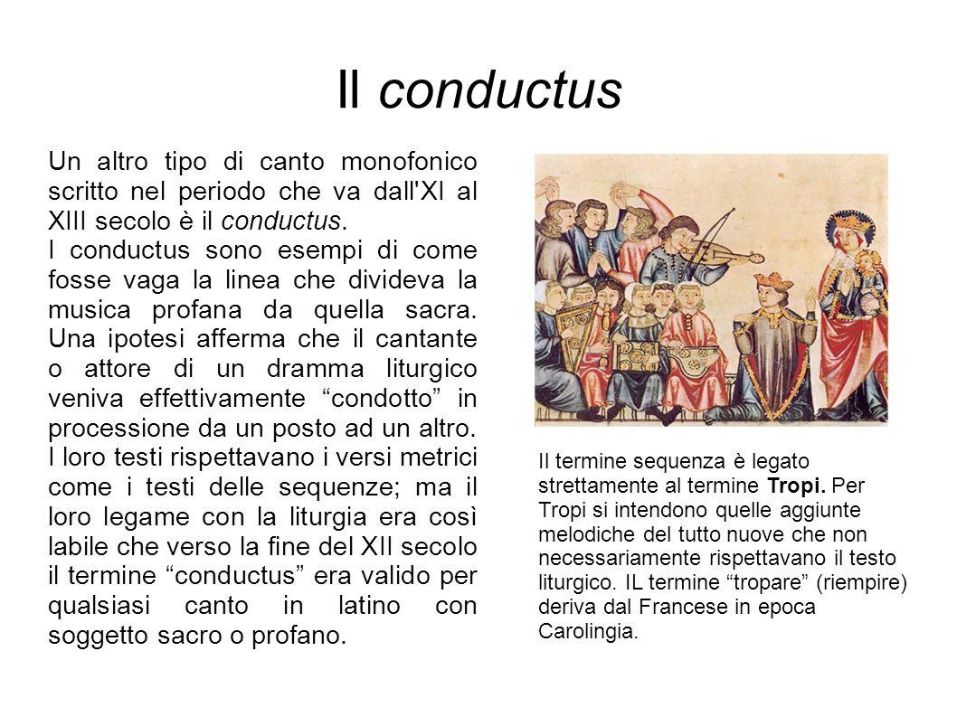 Il conductus Un altro tipo di canto monofonico scritto nel periodo che va dall'XI al XIII secolo è il conductus. I conductus sono esempi di come fosse