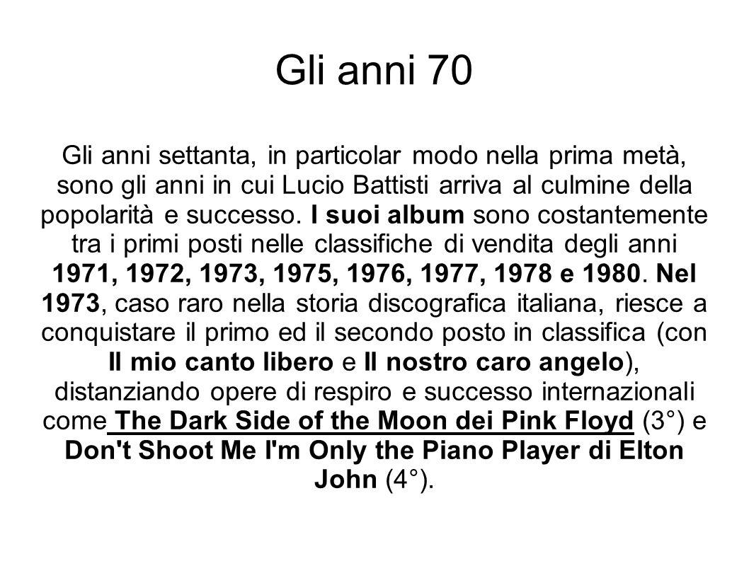 Gli anni 70 Gli anni settanta, in particolar modo nella prima metà, sono gli anni in cui Lucio Battisti arriva al culmine della popolarità e successo.