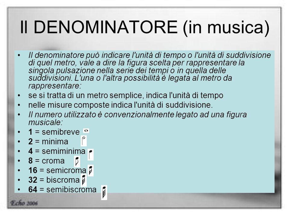 Il DENOMINATORE (in musica) Il denominatore può indicare l'unità di tempo o l'unità di suddivisione di quel metro, vale a dire la figura scelta per ra