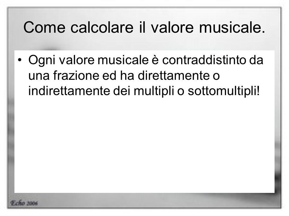 Come calcolare il valore musicale. Ogni valore musicale è contraddistinto da una frazione ed ha direttamente o indirettamente dei multipli o sottomult