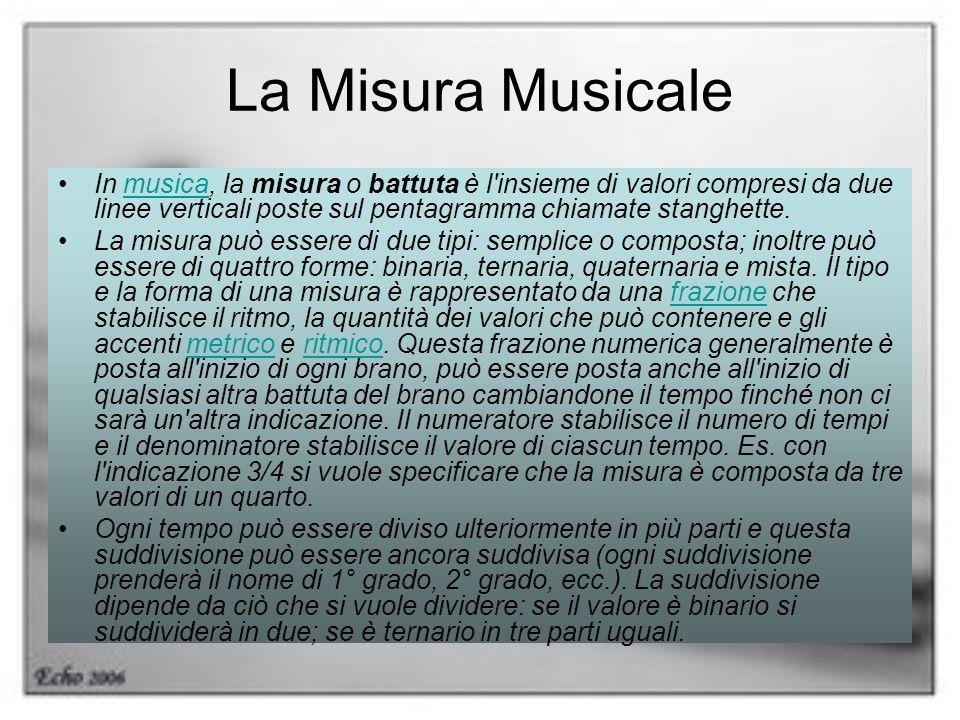 La Misura Musicale In musica, la misura o battuta è l'insieme di valori compresi da due linee verticali poste sul pentagramma chiamate stanghette.musi