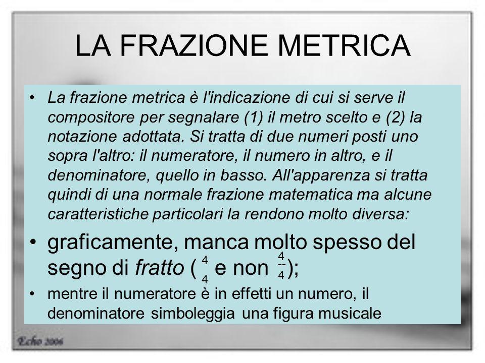 LA FRAZIONE METRICA La frazione metrica è l'indicazione di cui si serve il compositore per segnalare (1) il metro scelto e (2) la notazione adottata.