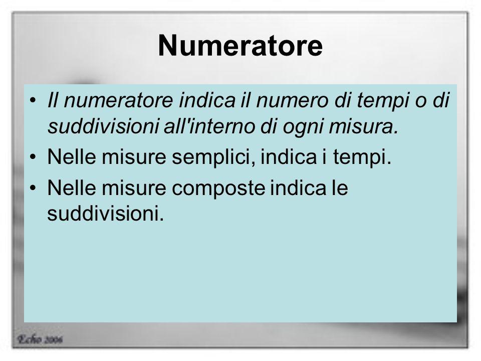 Numeratore Il numeratore indica il numero di tempi o di suddivisioni all'interno di ogni misura. Nelle misure semplici, indica i tempi. Nelle misure c