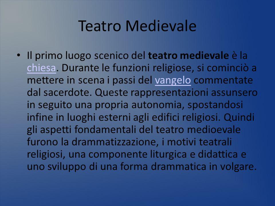 Teatro Medievale Il primo luogo scenico del teatro medievale è la chiesa. Durante le funzioni religiose, si cominciò a mettere in scena i passi del va