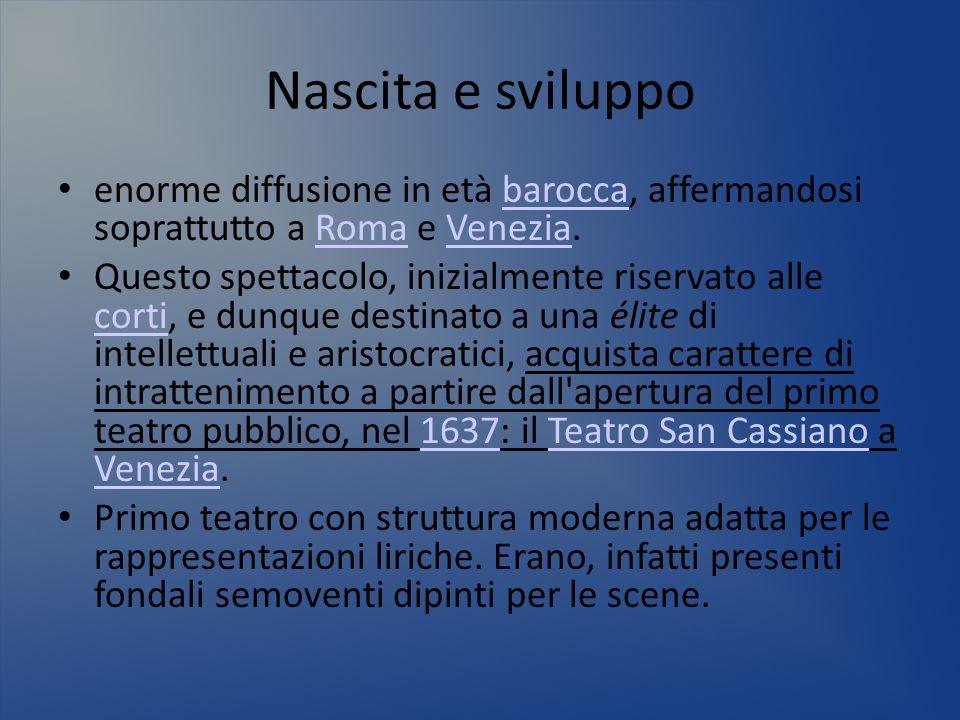 Nascita e sviluppo enorme diffusione in età barocca, affermandosi soprattutto a Roma e Venezia.baroccaRomaVenezia Questo spettacolo, inizialmente rise