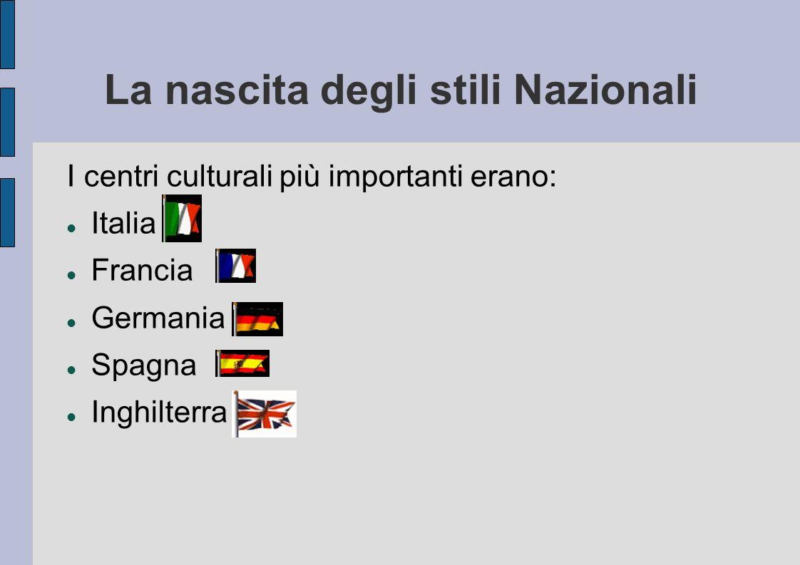 La nascita degli stili Nazionali I centri culturali più importanti erano: Italia Francia Germania Spagna Inghilterra