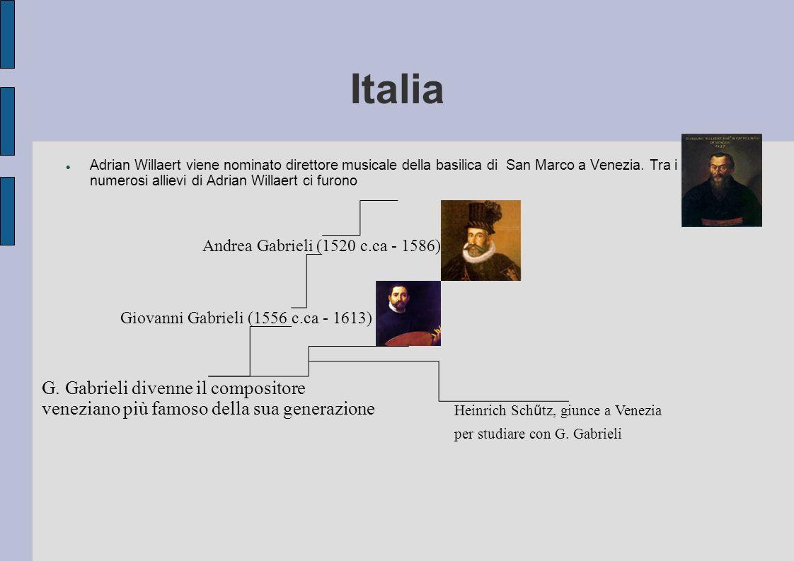 In Italia Così nell arco di meno di un secolo l Italia aveva soppiantato gli Olandesi diventando il cuore della vita musicale Europea e la sua supremazia nel campo musicale durò per più di 200 anni .