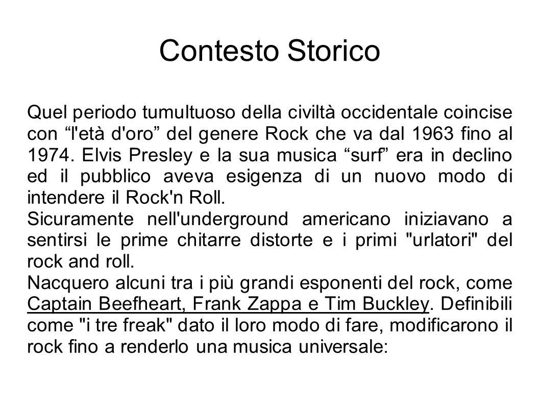 Contesto Storico A questo si aggiunse Hendrix, uno dei più grandi chitarristi della storia, il quale apportò una buona dose di psichedelia (più esattamente, quella mutuata della scena inglese con gruppi come i The Beatles, e successivamente i Pink Floyd e i Soft Machine) con un autentico virtuosismo musicale.