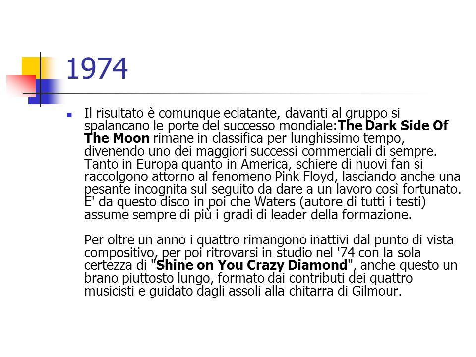 1974 Il risultato è comunque eclatante, davanti al gruppo si spalancano le porte del successo mondiale:The Dark Side Of The Moon rimane in classifica
