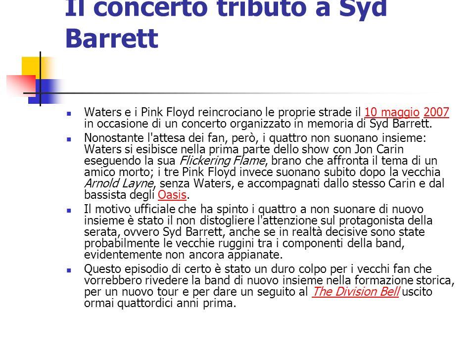 Il concerto tributo a Syd Barrett Waters e i Pink Floyd reincrociano le proprie strade il 10 maggio 2007 in occasione di un concerto organizzato in me