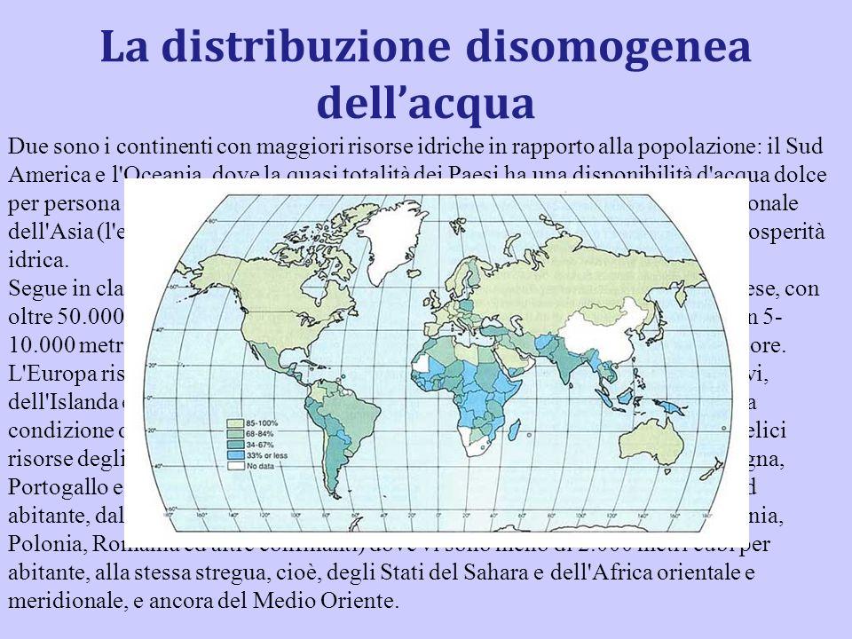 La distribuzione disomogenea dellacqua Due sono i continenti con maggiori risorse idriche in rapporto alla popolazione: il Sud America e l'Oceania, do