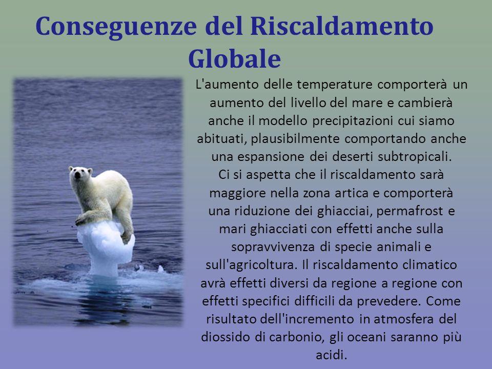 Conseguenze del Riscaldamento Globale L'aumento delle temperature comporterà un aumento del livello del mare e cambierà anche il modello precipitazion
