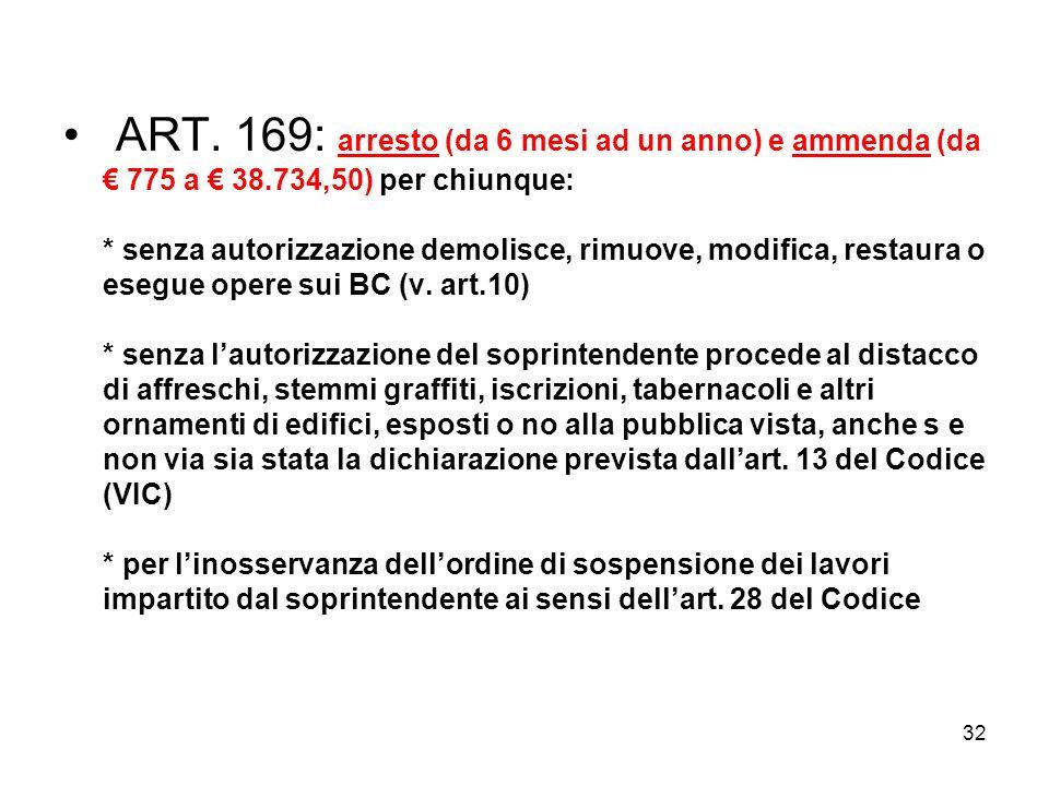 31 ART. 160: imposizione alla proprietà di eseguire a sue spese di adempiere obblighi di protezione e conservazione e reintegrazione dei BCE ART. 162: