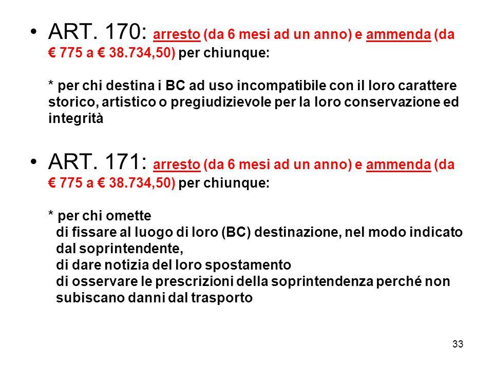 32 ART. 169: arresto (da 6 mesi ad un anno) e ammenda (da 775 a 38.734,50) per chiunque: * senza autorizzazione demolisce, rimuove, modifica, restaura