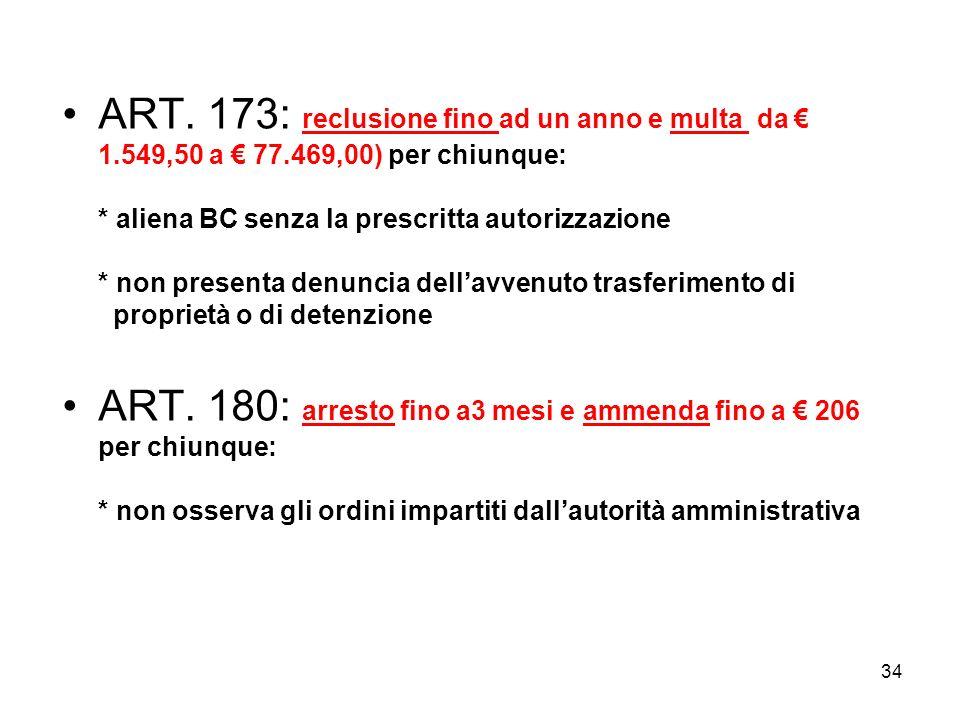 33 ART. 170: arresto (da 6 mesi ad un anno) e ammenda (da 775 a 38.734,50) per chiunque: * per chi destina i BC ad uso incompatibile con il loro carat