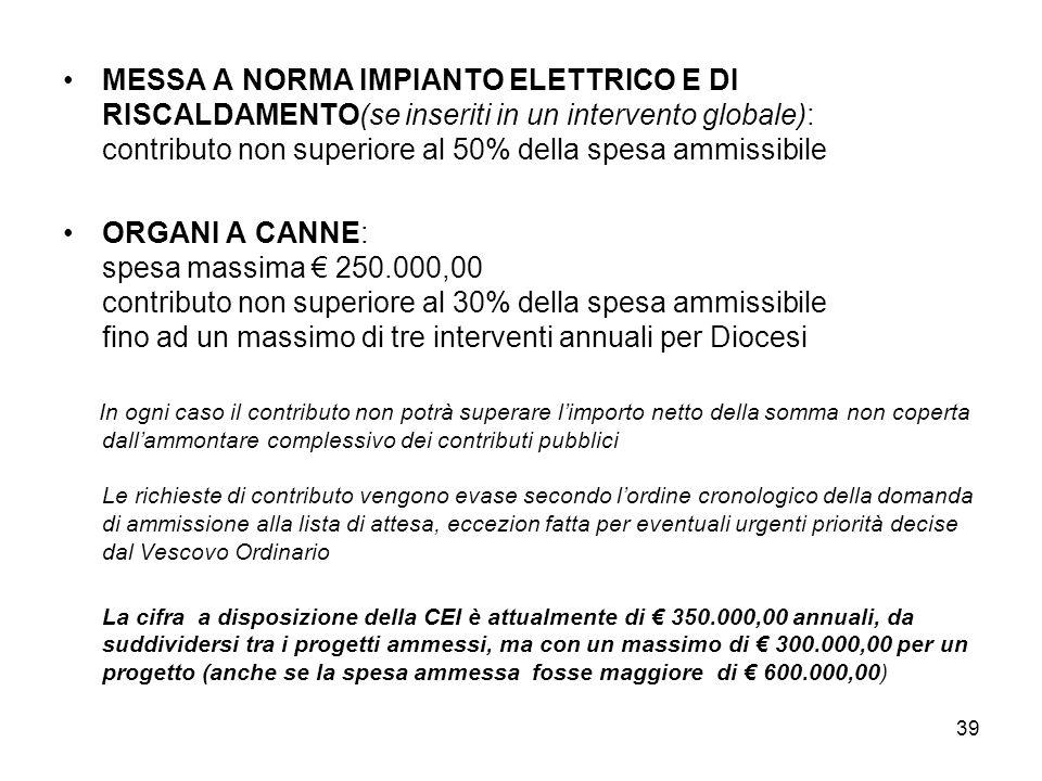 38 4 CONTRIBUTI CEI (BCE) IMPIANTI DI SICUREZZA – ANTIFURTO: massimo 19.000,00 annuali per Diocesi (+ Museo D. – Archivio – Biblioteca) ACQUISTO EDIFI
