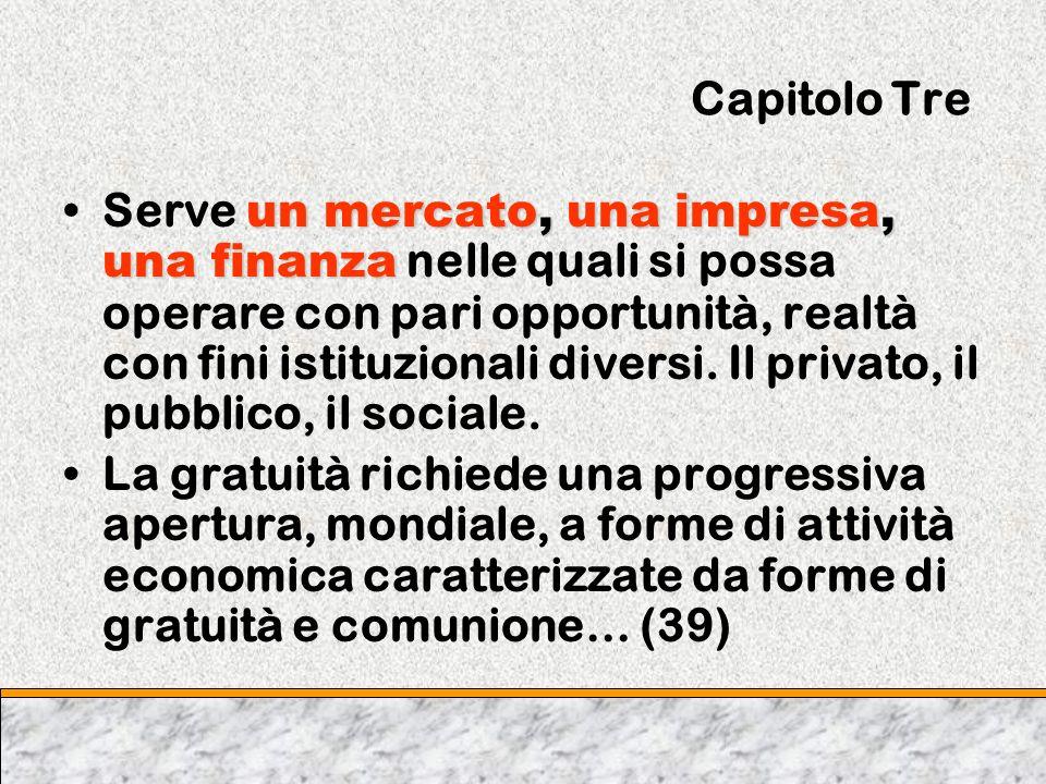 Capitolo Tre un mercato, una impresa, una finanzaServe un mercato, una impresa, una finanza nelle quali si possa operare con pari opportunità, realtà