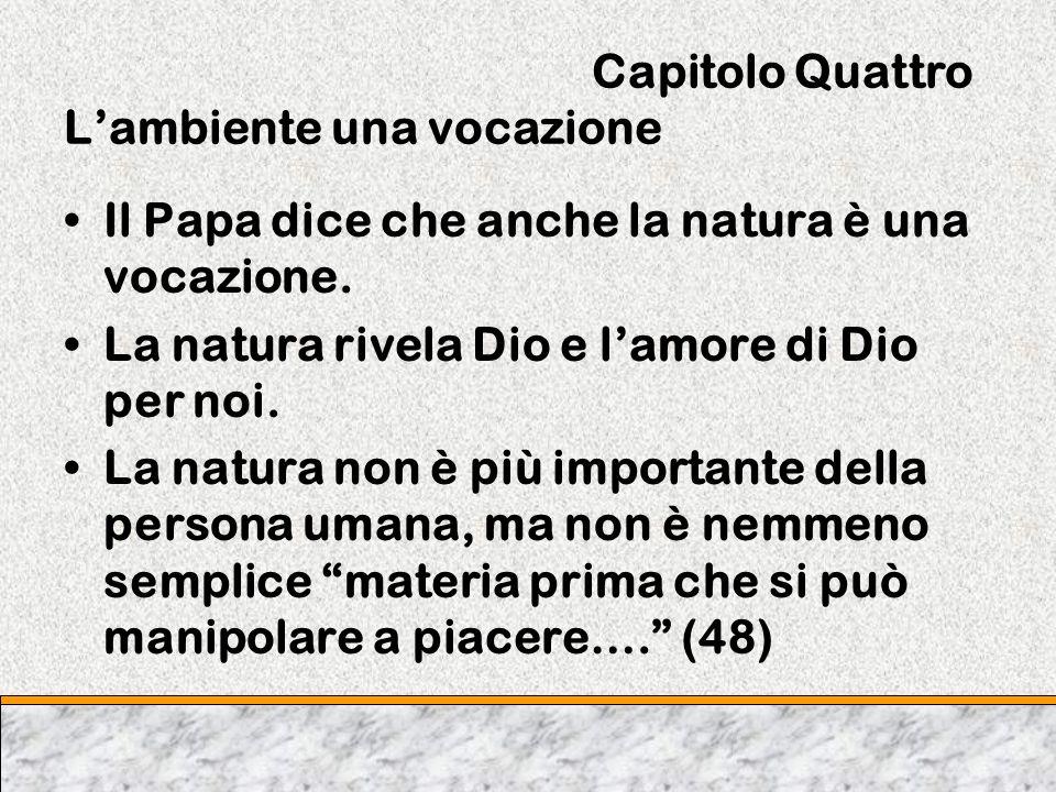 Capitolo Quattro Lambiente una vocazione Il Papa dice che anche la natura è una vocazione. La natura rivela Dio e lamore di Dio per noi. La natura non