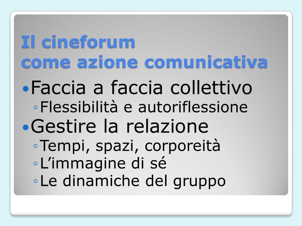 Il cineforum come azione comunicativa Faccia a faccia collettivo Flessibilità e autoriflessione Gestire la relazione Tempi, spazi, corporeità Limmagine di sé Le dinamiche del gruppo